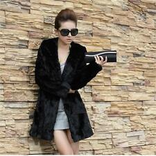 Winter Coats Faux Fur Coat Black Slim Fur Jacket Long Hooded Rabbit Fur Overcoat