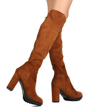 New Women Nature Breeze Rebound-01OK Faux Suede Knee High Chunky Heel Boot