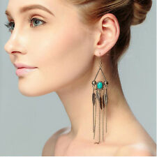 Turquoise Dangle Long Tassel Drop Lucky Feather earrings Yellow Gold Filled lot