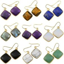 Agate Amethyst Quartz Crystal Rhombus Hook Dangle Earring Healing Reiki Jewelry