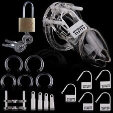 US New Men Clear Male Chastity Device Belt W/ Plastic Lock Locking Number Tags