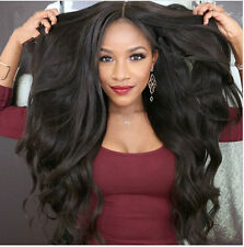 Long Curly Body Wavy Black Heat Resistant Synthetic Lace Front Wig Hair Cosplay
