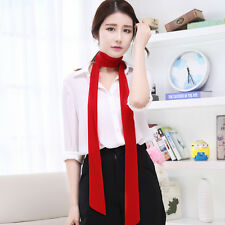 Lady Skinny Scarf Chiffon Extra Long Slim Solid Ribbon Belt Thin Tie Neck Office