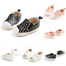 Baby Girls Boy Soft Crib Shoes PU Leather Gold Polka Dots First Walker Sneakers
