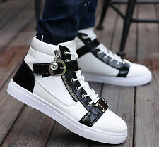 Hot Men's Fashion Metal Buckle Lace Up High Top Casual Skateboard Sneakers Shoes
