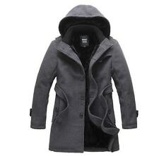 Winter Mens trench coat warm lined hooded Casual Jacket peacoat parka outwear Sz