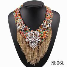 2016new chain tassels necklace collar bib bead crystal choker statement necklace