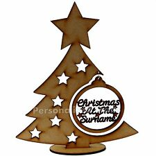 Personalised Free Standing Christmas Tree With Hanging Bauble Xmas Gift Present