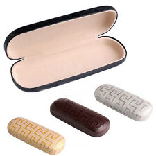 Vintage Leather Clam Shell Hard Case Holder Eye Glasses Sunglass Protector Box