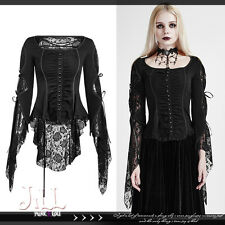 goth aristocrat Baroque queen Persephone floral lace flare sleeve blouse Y683