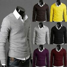 Mens Slim Fit Cotton Long Sleeve Casual Shirt V-neck sweater bottoming E79S