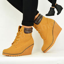 NEW WOMENS LACE UP ANKLE BOOTS LADIES WEDGE HEEL BOOTIES SHOES SIZE UK 3-8
