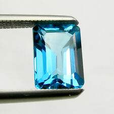 Emerald Cut Shape Swiss Blue Natural Blue Topaz Loose Gemstone