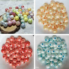 50pcs Crackle Cracked Acrylic Pearl Round Spacer Loose Beads 10MM Choose Color