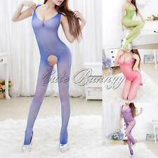 Lady Women Sexy Lingerie Babydoll Bodysuit Open Crotch Mesh Sheer Body Stocking