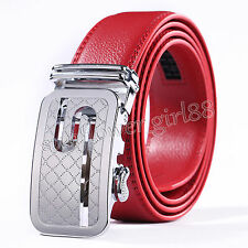 Hot Genuine Leather Men Silver Automatic Buckle Belts Waist Strap Belt Waistband