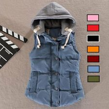New Womens Winter Vest Padded Warm Hooded Jacket Slim Waistcoat Cotton Coat
