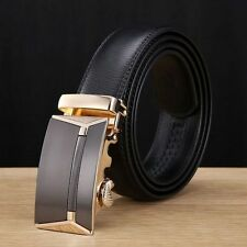 Hot Genuine Leather Mens Black Brown Automatic Buckle Waist Strap Belt Waistband