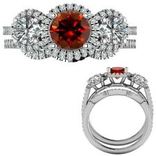 2.35 Carat Red Diamond Designer Three Stone Halo Ring + Band 14K White Gold