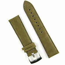 B & R Bands Olive Sierra Sueded Classic Leather Watch Band Strap 20mm 22mm 24mm