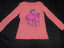 BNWT GIRLS CORAL LONG SLEEVED HORSES TSHIRT SIZE 8 12 14  TOP SHIMMERY