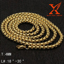 Men's Fashion Stainless Steel 4MM Silver and Gold Link Box Chain Necklace 24""