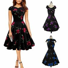 Women Vintage Style 1950's Floral Rockabilly Retro Evening Party Swing Dress