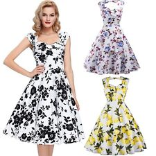 Women Vintage 50s Backless Retro Pinup Swing Prom Ball Party Evening Dress