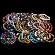 8mm Assorted Natural Gemstone Beads Tiger Charm Stretchy Stone Beaded Bracelet