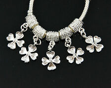 5x, 10x, 20x Silver Flower Dangle Charm Beads Fit European Chain Bracelet #927