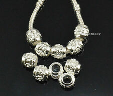 5x, 10x, 20x Flower Silver Charm Beads Fit European Chain Bracelet #914