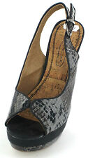 SALE LADIES SPOT ON SLINGBACK PLATFORM SANDAL IN BLACK SNAKE PRINT F10040