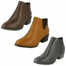 LADIES SPOT ON PULL ON ANKLE BOOTS IN TAN, BROWN & BLACK STYLE - F20232