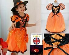 Girls Halloween Pumpkin Costume Dress with Flashing Pumpkin Face Brooch Age 3-8Y