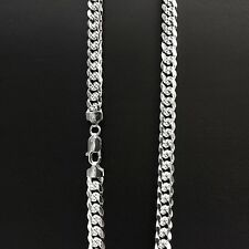 ITALY 925Sterling Silver Bombe Curb Chain Necklace/Bracelet-Miami Cuban Chain