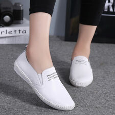 Women Students Flat Casual Genuine Leather Loafers Slip on Moccasin Oxford Shoes