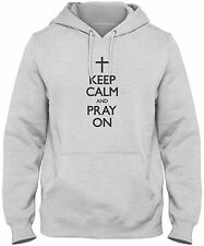 Men's Keep Calm And Pray On Hoodie Christian Prayer Cross Sweatshirt FREE S&H!