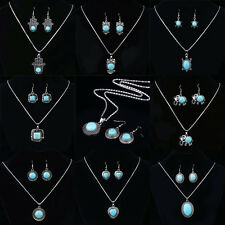 Fashion Beauty Girls Women Turquoise Pendant Necklace and Earrings Jewellery Set