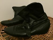 Witchery Black Leather Slouch Ankle Boots - Ladies Size 6