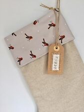 Personalised Handmade Natural Linen Christmas Stocking with Cute Robin Cuff