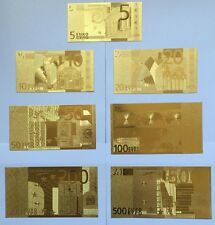 SET 7 24kt 99.9% GOLD FOIL 5-10--20-50-100-200-500 Euro Banknote LOW PRCE