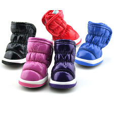 4Pcs Pet Dog Shoes Small Puppy Soft PU Leather Fleece Winter Warm Booties Boots