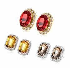 Red ruby crystal Rhinestone Stud earrings Yellow gold filled statement earings