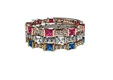 MAMA Stackable Silver Ring Princess simulated Birthstone W/Y/Rose Gold Plated