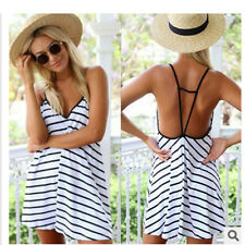 Women Dress Summer Black&white stripes Sundress Casual Short Mini Dress stylish
