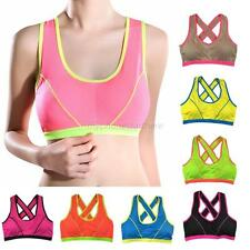 Women Seamless Fitness Yoga Tank Top Gym Workout Sports Bra Padded Racerback HOT