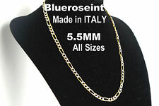 5.5mm Figaro Chain Pave Solid 925 Sterling Silver and 18K Gold - All Sizes