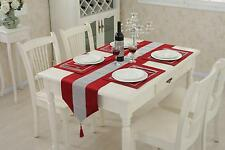 Luxury Table Runner Tassels Rhinestone Chenille Table Cloth with Table Placemat