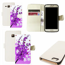 pu leather wallet case for majority Mobile phones - purple floral bee white