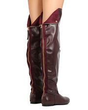 Nature Breeze Vickie-45 Women Leatherette Thigh High Hind Zipper Flat Boot